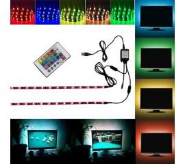 Светодиодная подсветка RGB для ТВ, полок, ниш. 2 х 0,5м, пульт ДУ, USB
