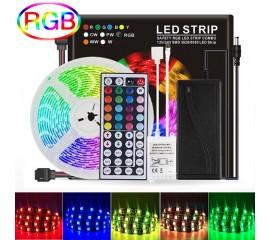 Светодиодная подсветка RGB 5м, 300led, пульт ДУ-44 кнопки, в цветной коробке