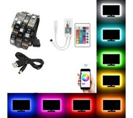 Светодиодная лента RGB, 1 метр, контроллер WI-FI, пульт ДУ, USB