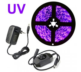 Светодиодная лента ультрафиолет с диммером, 5 метров, 300LED, 12V