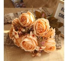 Букет роза с гортензией персиковая