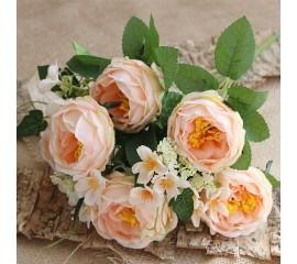 Букет розы с незабудками - персиковые