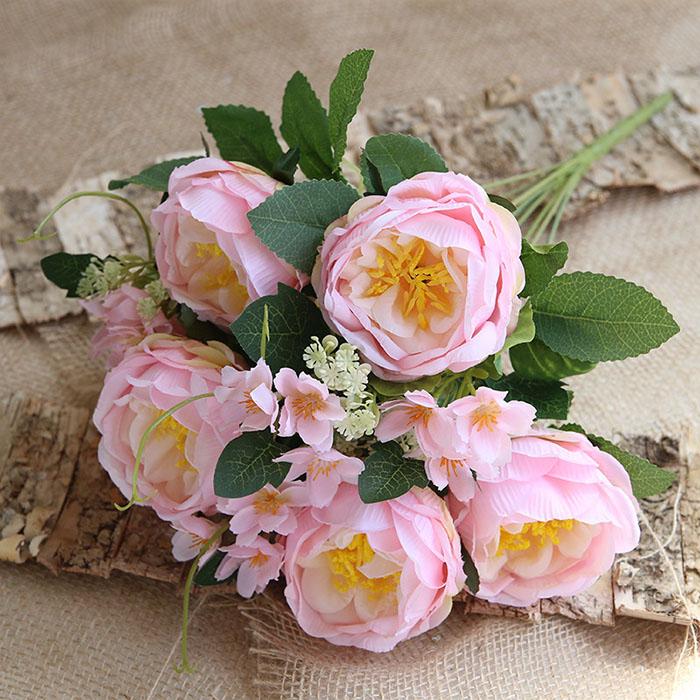Букет розы с незабудками - розовые