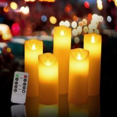 """Набор светодиодных восковых свечей """"5 штук с пультом д/у"""""""