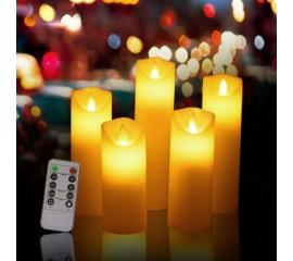 """Набор светодиодных восковых свечей """" 5 штук с пультом д/у"""""""