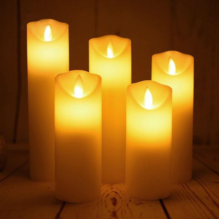 Набор светодиодных восковых свечей, 5 штук, с пультом ДУ