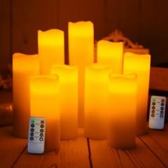 """Набор светодиодных восковых свечей """"9 штук с пультом д/у"""""""