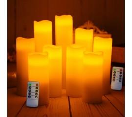 """Набор светодиодных восковых свечей """" 9 штук, 2 пульта д/у"""""""