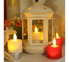 Светодиодная свеча, реалистический эффект огонька, кремовая - 4,5 см