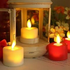 Светодиодная свеча, реалистический эффект огонька, красная - 4,5 см