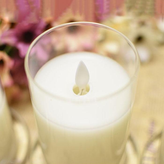 Восковая свеча в стакане, эффект реалистичного огонька, 10 см