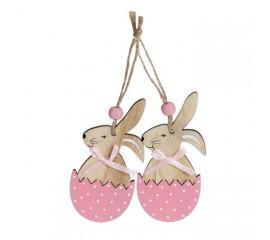 """Набор пасхальных подвесок """"Кролик в розовой скорлупе"""" 10 см"""