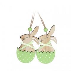 """Набор пасхальных подвесок """"Кролик в зеленой скорлупе"""" 10 см"""