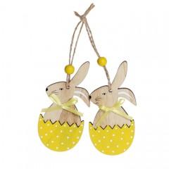 """Набор пасхальных подвесок """"Кролик в желтой скорлупе"""" 10 см"""