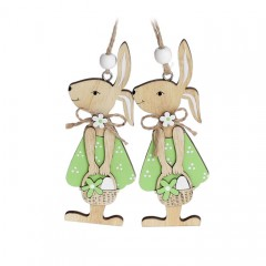 """Набор пасхальных подвесок """"Зайчиха в зеленом платье"""" 12 см"""