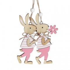 """Набор пасхальных подвесок """"Зайчики с розовым цветком"""" 12 см"""