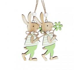 """Набор пасхальных подвесок """"Зайчики с зеленым цветком"""" 12 см"""