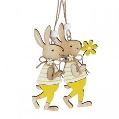"""Набор пасхальных подвесок """"Зайчики с желтым цветком"""" 12 см"""