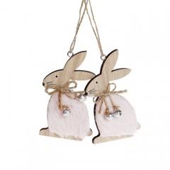 """Набор пасхальных подвесок """"Кролики в розовой шубке"""" 10 см"""