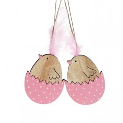 Набор  подвесок - цыплята деревянные розовые