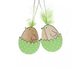Набор  подвесок - цыплята деревянные зеленые