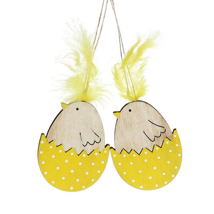 Набор  подвесок - цыплята деревянные желтые