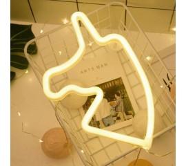 """Настенный светодиодный ночник """"Неоновый единорог"""" USB / батарейки - теплый белый"""