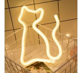 "Настенный LED декор ""Неоновый котик"" usb / батарейки"