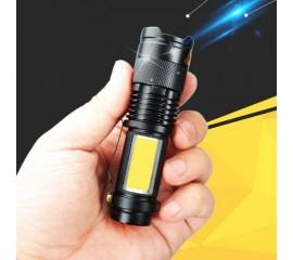Фонарик аккумуляторный f-017 с боковым светом, 4 режима