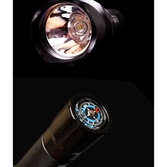 Аккумуляторный фонарик f-027, с прямой зарядкой USB, 3 режима, компас