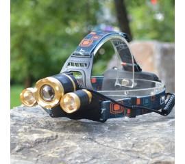 Налобный аккумуляторный фонарь f-046, с прямой зарядкой от сети, 4 режима