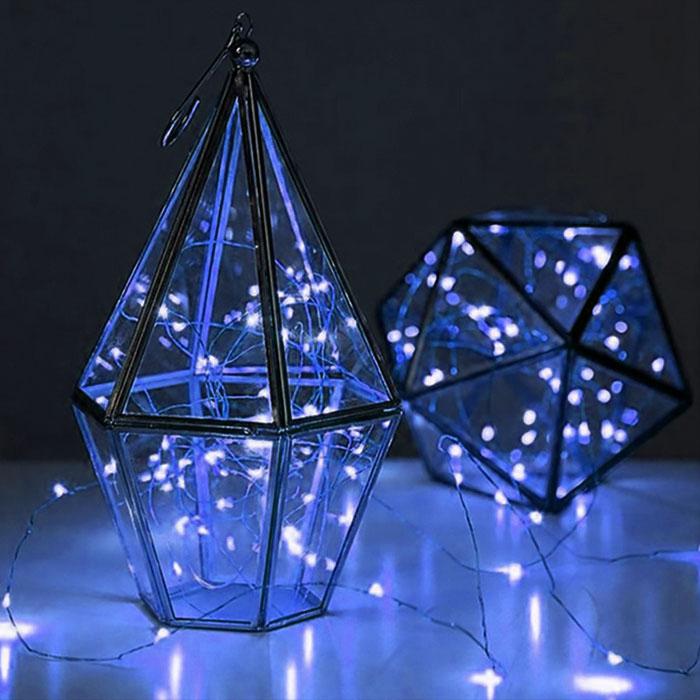 LED нить - 2 м 20 ламп, голубой, USB