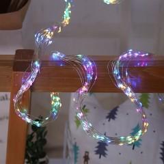 Свисающие led нити 200 led, 10 линий по 2м, цветная, с блоком питания