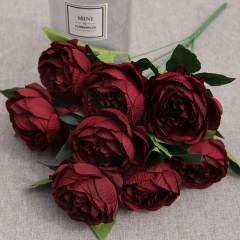 Букет роза пионовидная бордовая